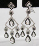 Fine Victorian-style Natural White Topaz & Diamond Chandelier Earrings