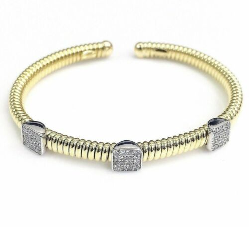0.51 Carat t.w. Diamond Cuff Bangle 18 Karat 2Tone Gold Brand New Made in Italy