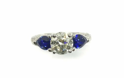 18K White Gold Ring w/EGL Certified 1.29ct RBC Diamond & 2 Pear Shape Blue Sapp