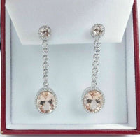 7.39 ct Margonite Oval Drop Earrings w/ Round Diamond Dangling in 14K White Gold