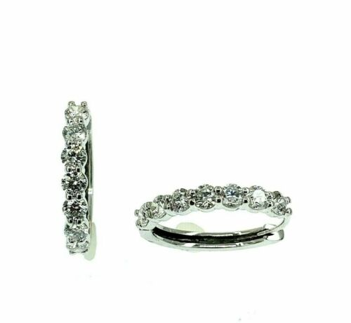 1.35 Carats t.w. Diamond Oval Hoop Earrings 14 Karat White Gold 0.75 Inch Drop