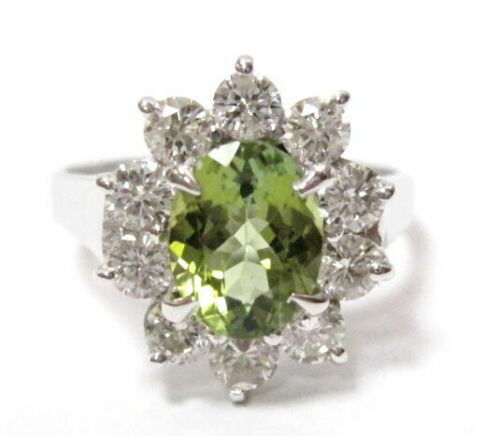 3.71 TCW Oval Green Tourmaline & Diamond Flower Ring Size 6.5 18k White Gold