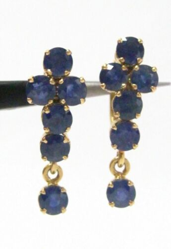 FINE 2.75 TCW Natural Sapphire Dangle Earrings 14k Yellow Gold