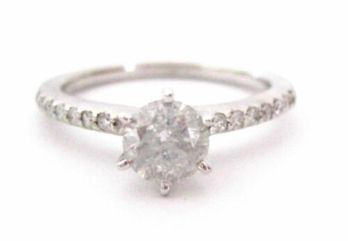 1.14 TCW Round Diamond Solitaire Engagement Ring Size 7 H I1 14k White Gold