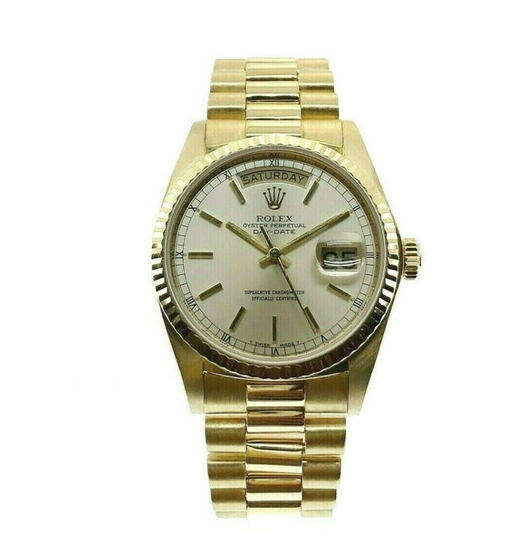 Rolex Day Date 18K President 36mm Watch 18038 Vintage 1980 with Champagne Dial