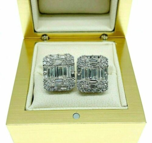 2.73 Carats Invisible Baguette and Round Diamond Stud Earrings 18K White Gold
