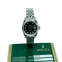 Rolex 26 MM Lady Diamond Datejust 18 Karat White Gold Steel Watch Ref #179174