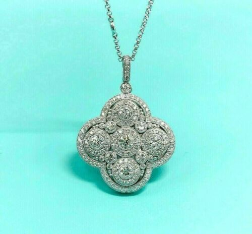3.32 Carats t.w. Diamond Clover Pendant w Diamond By The Yard Chain 14K Hand Set