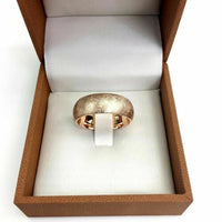 Men's 8MM Wide 14K Rose Gold Gold Brushed Florentine Wedding Band Comfort Fit