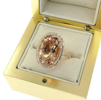 10.565 Carats Diamond and Oval Morganite Halo Celebration Ring 14K Rose Gold New