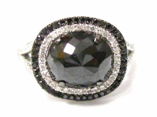 3.58 Tcw Natural Oval Black Diamond Cocktail Ring Size 6.5 14k White Gold