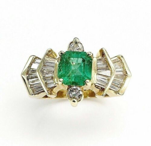 2.34 Carats t.w. Diamond and Emerald Ring Emerald is 1.25 Carats May Birthstone
