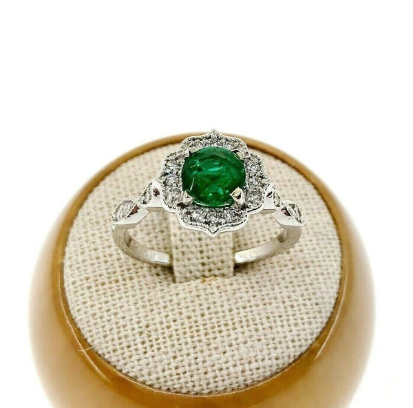 1.37 Carats t.w. Diamond and Emerald Halo with Accents Pave Ring 14K Gold