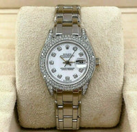 Rolex 29MM Pearlmaster 18 Karat White Gold Watch 69359 All Factory Set Diamonds