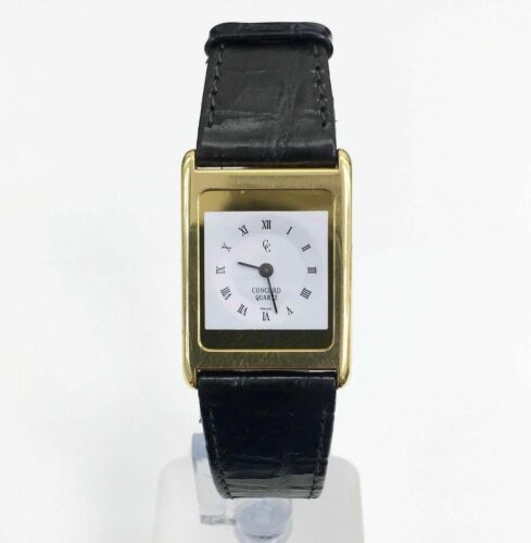 Concord 18K Gold Solid Ladies Dress Watch Quartz Original Leather Band andBuckle