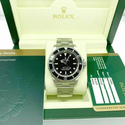 Rolex Black Submariner No Date Stainless Steel Watch Ref 14060 Engraved Box&Card