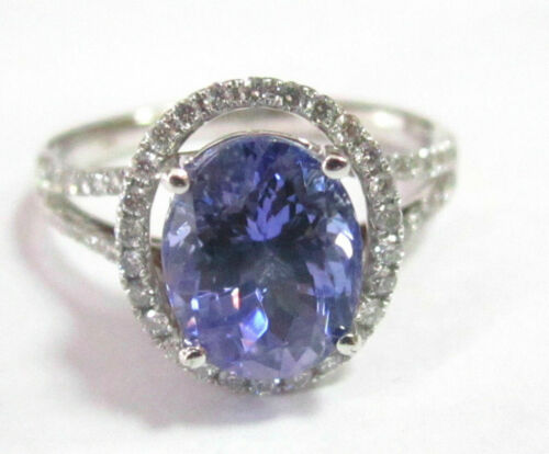 Natural Oval Tanzanite & Diamond Accents Solitaire Ring Size 7 14k White Gold