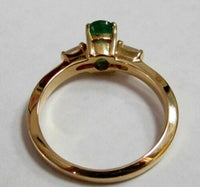 .89Ct Oval Green Emerald & Round Diamonds Solitaire Ring Size 7 14k Yellow Gold