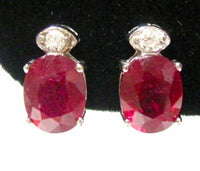 5.43 Tcw Fine Natural Oval Red Ruby & Diamond Stud Earrings 14k White Gold