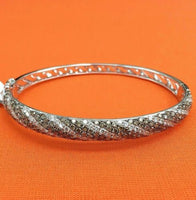 4.10 Carats t.w. White and Chocolate Diamond Bangle 14K Gold 17.3 Grams