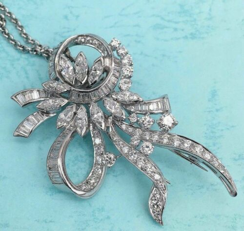 Antique 5.83 Carats t.w. Diamond Brooch/Pendant Platinum IGI G-H VS Diamonds