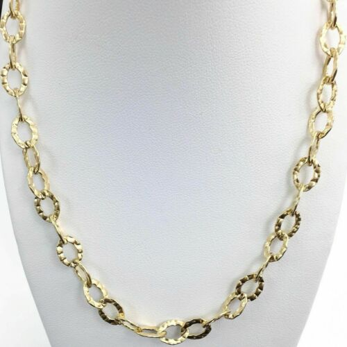 Solid 10 Karat Yellow Gold Hammered and Satin Finish Necklace 23 Inch Brand New