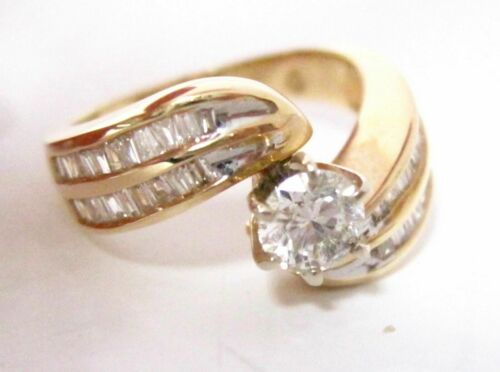 1.41 TCW Round Diamond w/ Baguette Accents Cocktail Ring Size 5.5 G VS2-SI1 14k