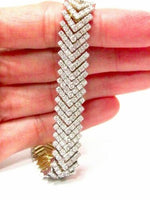 "5.65 TCW Round Cut Diamond Tennis Bracelet H VS2 7.5"" Long 14k Two-Tone Gold"
