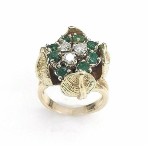 Solid14K Gold and 0.78 Carat t.w. Diamond and Emerald Tulip Ring Vintage 1970's