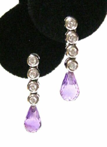 4.12 TCW Natural Pear Drop Purple Amethyst & Diamond Drop Earrings 14k WhiteGold