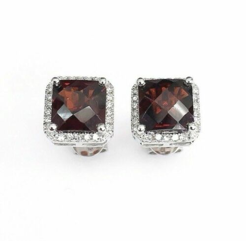 2.93 Carats t.w. Garnet and Diamond Halo Stud Earrings 14K White Gold New