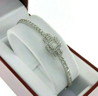 1.88 Carats t.w. 18K White Gold Round and Baguette Diamond Bangle Bracelet G VS