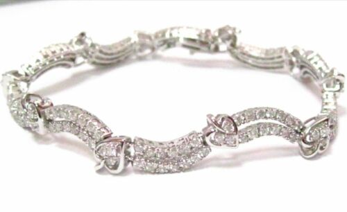 3.56 TCW Round Cut Diamond Tennis Bracelet G VS2 Not Enhanced 18k White Gold 7in