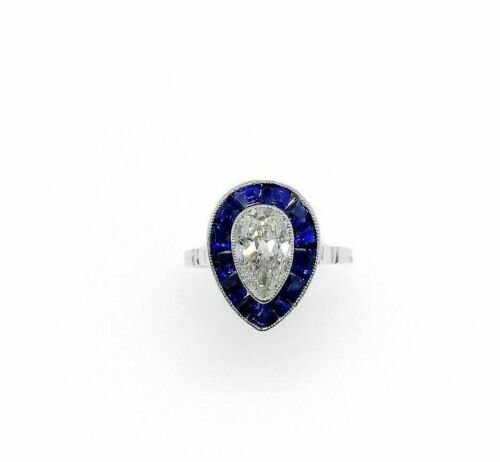 2.10 Carats Antique Pear and Blue Sapphire Engagement Ring 0.90 Carats Platinum