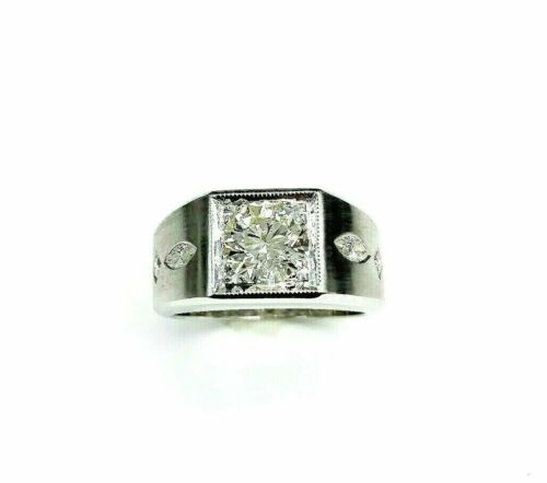 1.45 Carats Round and Marquise Cut Diamond Signet Mens Ring 14K White Gold