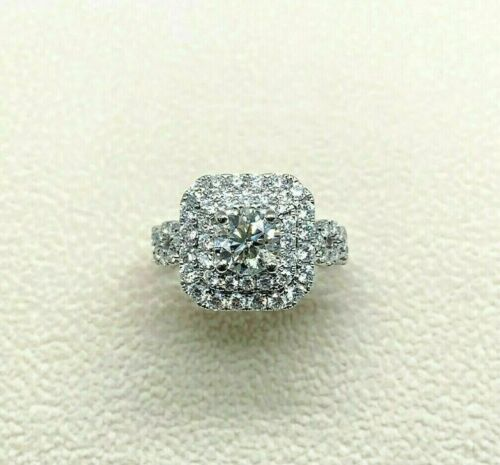 2.15 Caratst.w. Round Diamond Double Halo Engagement Ring 14k Gold 1 ct Center
