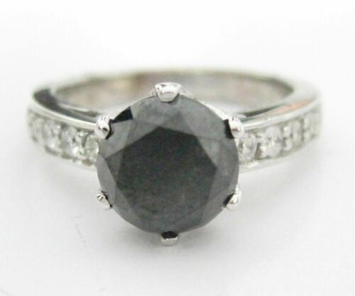 3.26 TCW Handmade Round Black Diamond Solitaire Engagement Ring Size 6.5 18kt