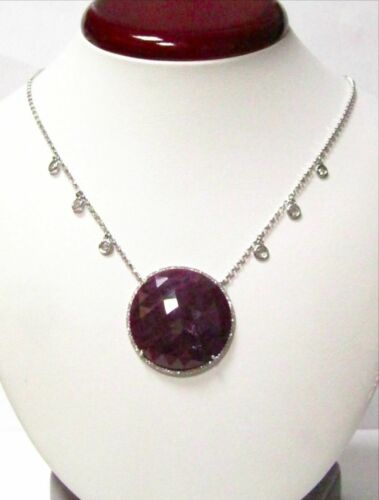 39.27 TCW Rose Cut Red Ruby & White Diamonds Pendant Necklace 14k White Gold 17""