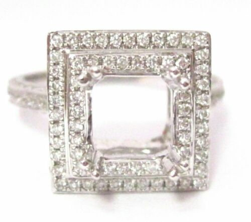 4 Prongs Semi-Mounting for PRINCESS or CUSHION Diamond Engagement Ring 18k W/G