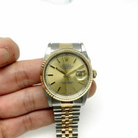 Rolex 36MM Datejust Watch 18K Yellow Gold Stainless Steel Ref 16233 Quick Set