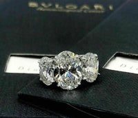 Original Bvlgari 7.37 Carats 3 Oval Diamond Platinum Engagement Ring