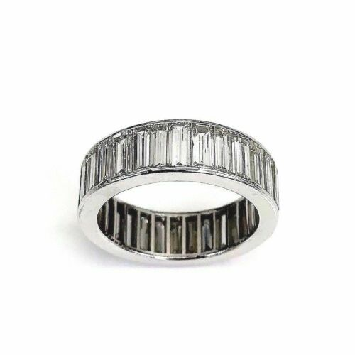 7.10 Carats Long Baguette G-H VS VVS Diamond Eternity Anniversary Ring Platinum