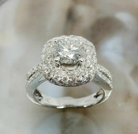 2.07 Carats t.w. Puffed Halo Diamond Engagement Ring Center 0.96 Carat 14K White