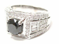 3.15 TCW Natural Round Black Diamond Anniversary Ring Size 8 18k White Gold