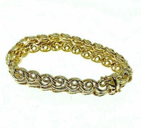 Estate Lady's Bracelet Solid 18K Yellow Gold 35.1 Grams 0.60 Inch Width