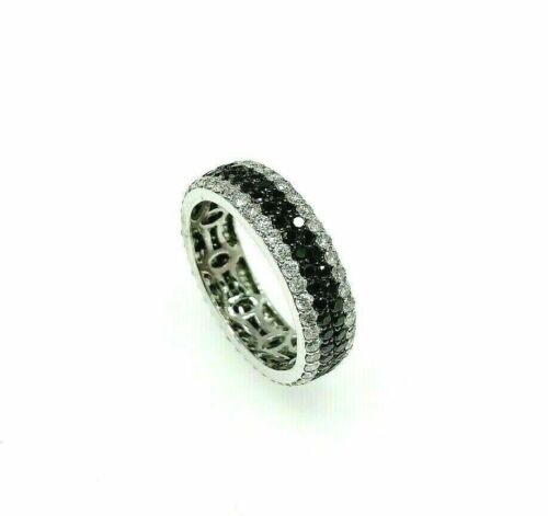 2.61 Carats t.w. Natural Black and White Diamond Pave 4 Row Eternity Ring 18KW