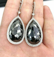 34.45 ct Black Pear Diamond Double Halo Dangle Drop Earrings in 14K White Gold