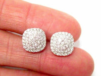 .98 TCW Round Cut Diamond Square Shape Cluster Earrings G SI1 18kt White Gold