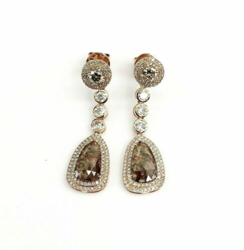 3.67 Carats Double Drop Pears Champagne Diamond Dangling Earrings 14kt Rose Gold