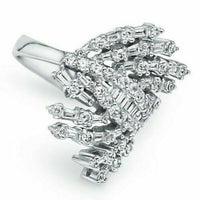 1.61 TCW Round and Baguette White Diamond 18k White Gold Cocktail Ring Size 7.25